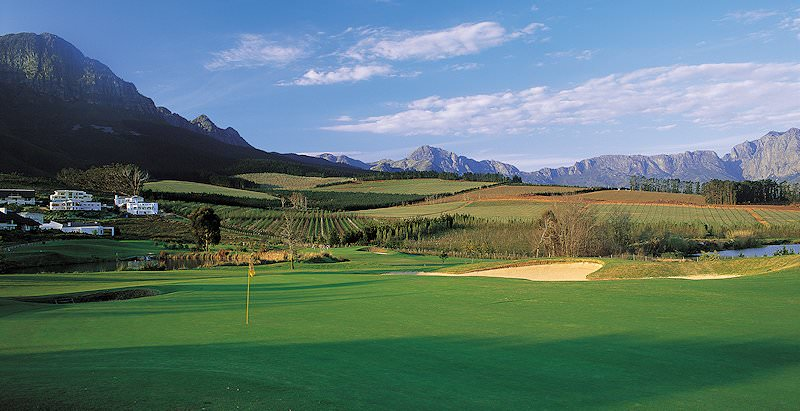 The Erinvale Golf Course against the backdrop of the Helderberg Mountains.