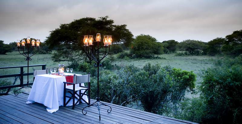 A romantic private dinner at Phinda Private Game Reserve during the 10 Day Beaches and Big Five Honeymoon.