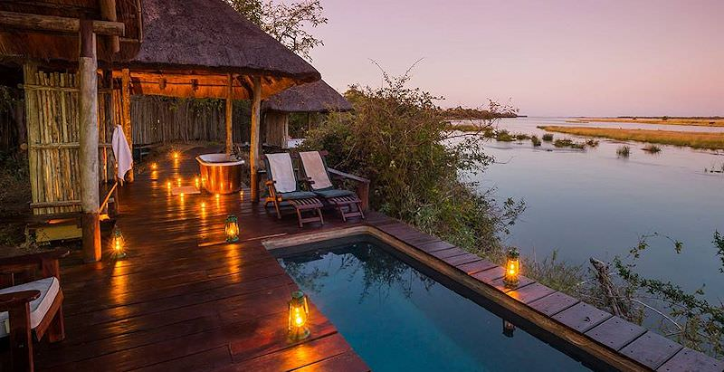 The sumptuous private deck of a suite at Royal Zambezi Lodge enjoyed during the 7 Day Royal Zambian Safari.