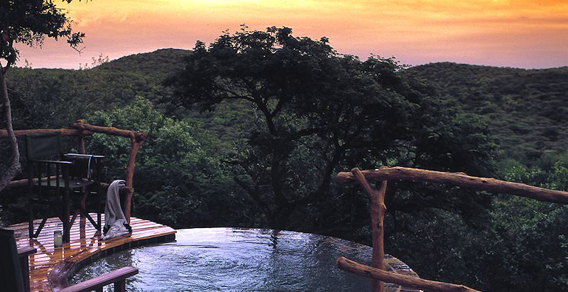 A plunge pool with a view at the Phinda Rock Lodge.