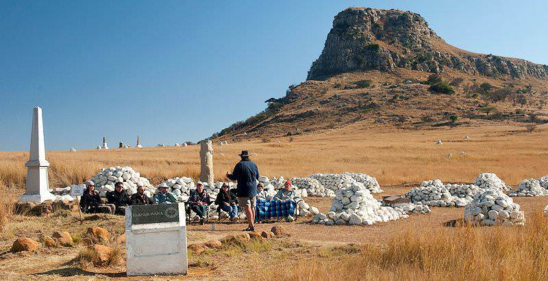 A guided tour of Isandlwana during the 5 Day Luxury Battlefields Tour.