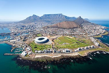 An aerial view of Cape Town.