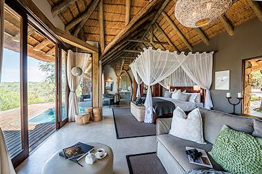 The interior of a plush safari lodge in the Kruger Park.