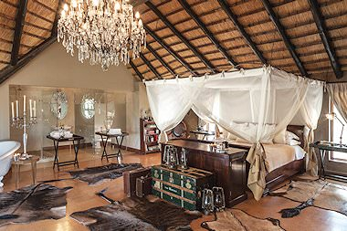 Thee elegant and opulent interior of a suite at Kings Camp.