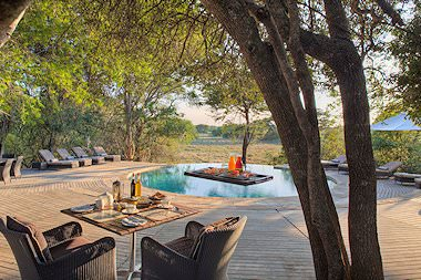 The pool area at Phinda Forest Lodge.