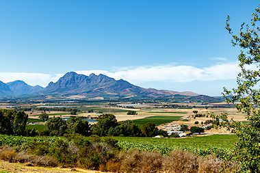 Striking mountain scenery in the Cape winelands.