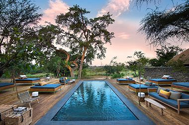 The swimming pool area at Lion Sands River Lodge in the Sabi Sand.