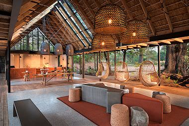 The interior of Lion Sands River Lodge in the Sabi Sand.