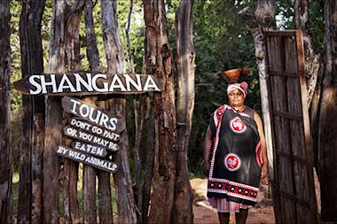 The entrance to Shangana Cultural Village.