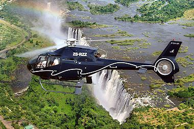 A helicopter flight above the Victoria Falls.