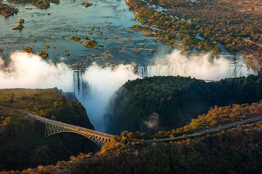Arial view of the Victoria Falls