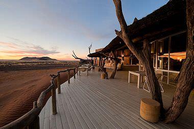 The exterior of Kulala Desert Lodge in Namibia.
