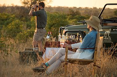 A sundowner stop during a game drive in South Africa.