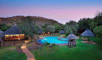 The swimming pool area at the family-friendly Bakubung Bush Lodge.