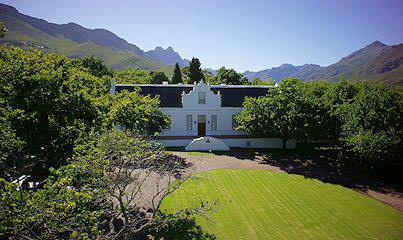 The handsome exterior of Lanzerac Estate in the Cape winelands.