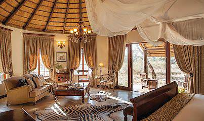 The exquisite interior of a suite at Kings Camp in the Timbavati Private Game Reserve.